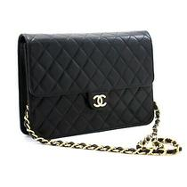 A84 Chanel Authentic Chain Shoulder Bag Clutch Black Quilted Flap Lambskin Photo