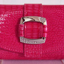 (A95) New Gorgeous Hot Pink Croc Leather Wallet Purse Clutch Bag  Photo