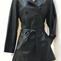 Abad Boss Genuine Leather Black Mid Length Belted Trench Coat Size Xs / 8-10-12 Photo