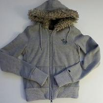 Abercombie and Fitch Women Gray Sweatshirt Hooded Jacket Coat Outerwear- S -Good Photo