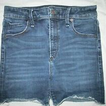 Abercrombie a&f Women's Simone High Rise Cheeky Blue Denim Shorts Size 26 2  Photo