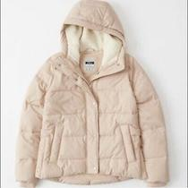 Abercrombie and Fitch Blush Puffer Jacket Sherpa Hood  Photo