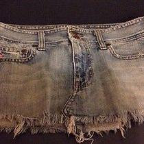 Abercrombie and Fitch Denim Jean Distressed Skirt Sz 2 Photo