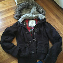 Abercrombie and Fitchfaux Fur Linedbrown Hooded Jacket. Womens Size Xs-S Photo