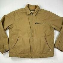 Abercrombie and Fitch Gray Fleece Lined Tan Brown Canvas Work Jacket Size Medium Photo
