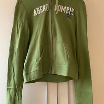 Abercrombie and Fitch Green Logo Distressed Zipped Hoodie Size Medium Photo
