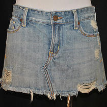 Abercrombie and Fitch Hippie Distressed Cut Off Denim Blue Jean Mini Skirt 2 Photo