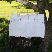 Abercrombie and Fitch Junior's White Denim Distressed Short Skirt Size 4    Photo
