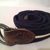 Abercrombie and Fitch Men's 100% Leather & Canvas Belt Size 32 Blue & White Nwt Photo