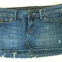 Abercrombie and Fitch Womens Blue Denim Short Skirt Frayed Hem Size 00 Photo