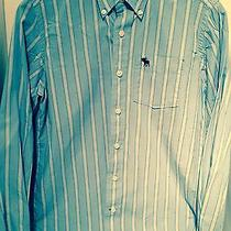 Abercrombie Boys Blue Striped Long Sleeve Button Down Dress Shirt - Size Xlarge Photo