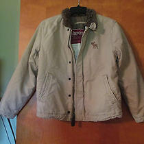 Abercrombie Boys L 14 Tan Beige Quilted Lined Winter Jacket Coat  Photo