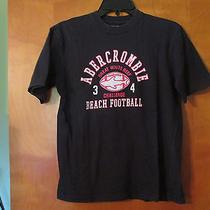 Abercrombie Boys Size L  Short Sleeve Navy Blue Beach Football Crew Neck T Shirt Photo