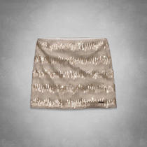 Abercrombie & Fitch Audrey Shine Skirt Cream Gold Sequins 2 Photo
