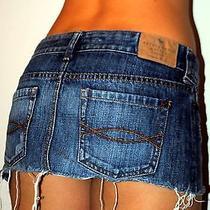 Abercrombie & Fitch  Blue Jean Sexy Lil Short Micro Mini Skirt Sz 4 27 Photo