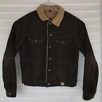 Abercrombie & Fitch Brown Corduroy Sherpa Lined Jacket Mens Sz Large Distressed Photo