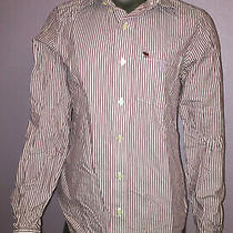 Abercrombie & Fitch Collared White Red Striped Muscle Shirt Mens Size Small Photo