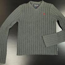 Abercrombie & Fitch Cotton Rubbed Sweater Men S Gray v-Neck Muscle Fitted Photo