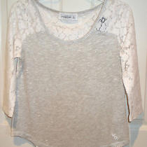 Abercrombie & Fitch Cream Ivory Beige Shine Lace Top Blouse Shirt Tee Medium M Photo
