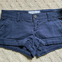 Abercrombie & Fitch Cuffed Women's Short Shorts Size 0 Navy Blue Pre Owned Photo