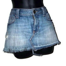 Abercrombie & Fitch Denim Skirt Blue Jean Distressed Womens Size 4 Cotton Photo