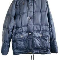 Abercrombie & Fitch Down Puffer Jacket W/ Hood Size L Navy Blue W/ Tan Lining Photo