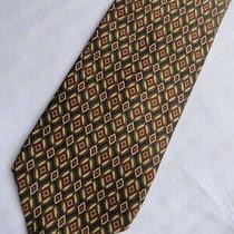 Abercrombie & Fitch Geometric Gold Olive Rust Cream Silk Necktie  Photo