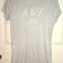 Abercrombie & Fitch Grey Gray Shine Blouse White Logo Shirt Top Tee T Large L Photo