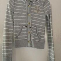 Abercrombie & Fitch Heathered Gray & White Button Up Hoodie Size Xs Euc Photo