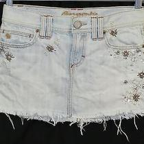 Abercrombie & Fitch Jean Embellished Mini Skirt Back to School Sz 00 Waist 29.5