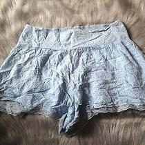 Abercrombie & Fitch L Blue Polka Dot Satin Sleep Pajama Shorts Lace Trimmed Photo