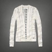 Abercrombie & Fitch L Cable Knit Open Stitch Cardigan Sweater Collegiate Photo