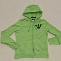 Abercrombie & Fitch Lime Green & Navy Zip Hoody Hooded Top 10-12 Photo