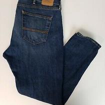Abercrombie & Fitch Men Jeans Size 38x30 Skinny Leg Blue Dark Wash Denim Flawed Photo