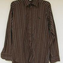 Abercrombie & Fitch Mens Brown W/ Multi- Color Stripes Slim Fit Shirt  Xl Photo