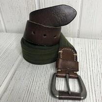 Abercrombie & Fitch Mens Leather & Web Belt Brown Green 34  Photo
