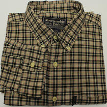 Abercrombie & Fitch Men's Long Sleeve Shirt Sz L Large Beige/green/red Plaid Photo