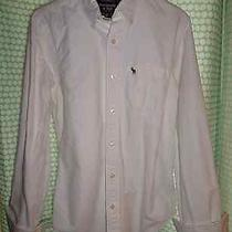 Abercrombie & Fitch Men's M White Oxford Button Down Muscle Fit Shirt (Sawteeth) Photo
