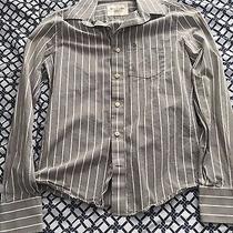 Abercrombie & Fitch Men's S Grey White Stripes Button Down Dress Shirt Photo