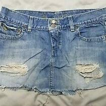 Abercrombie & Fitch Micro-Mini Embellished Distressed Denim Skirt Size 4 Photo
