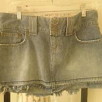 Abercrombie & Fitch Mini Skirt Denim Jean Truckstop Size 6 Frayed 34