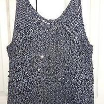 Abercrombie & Fitch Navy Blue Tank Top Blouse Shirt Shine Beads Tee Medium M Nwt Photo