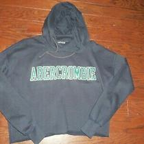 Abercrombie & Fitch Navy Graphic Logo Cropped Hoodie Sweatshirt Size Xs Photo