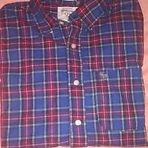Abercrombie & Fitch Red Blue Multi Color Plaids Checks Muscle Dress Shirt Mens L Photo