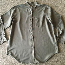 Abercrombie & Fitch Sandwashed 100% Silk Shirt Womens M Army Drab Olive Green Photo