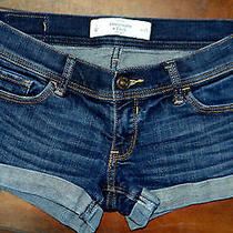 Abercrombie & Fitch Shorts Bootie Distressed Cuffed Stretch  Women's Size 0 W25 Photo