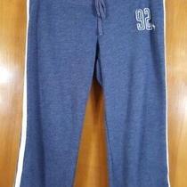 Abercrombie & Fitch Size M Blue White Stripe Drawstring Cropped Sweatpants Photo