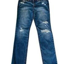 Abercrombie & Fitch Straight Leg Jeans Size 10r Blue Distressed Photo