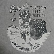 Abercrombie & Fitch T-Shirt Xl Gray Bernie's Mountain Rescue Service St Bernard Photo