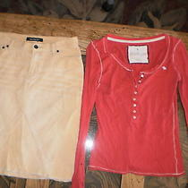 abercrombie&fitchwoman's Tan Corduroy Casual Skirt W/free Abercrombie Top. Sz 0 Photo